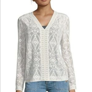 Rebecca Taylor 100% Silk Embroidered Long Sleeve